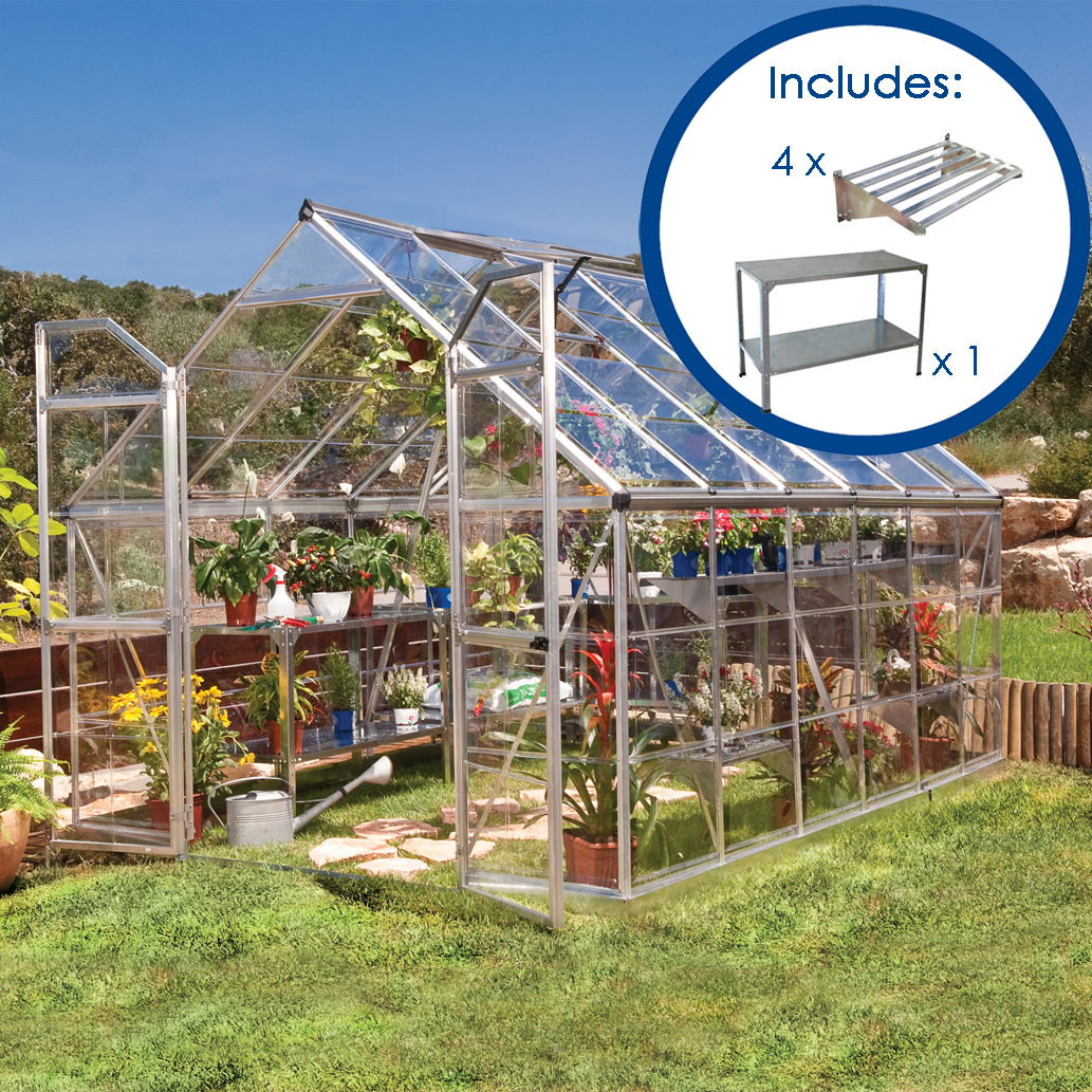 8 x 12 silver frame greenhouse pack maze products