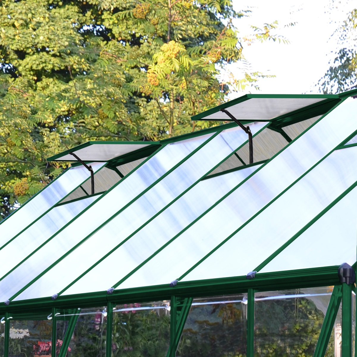 8ft x 8ft Green Frame Greenhouse